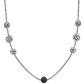White Sterling Silver Necklace With 300= Round Black Sapphires Length: 42