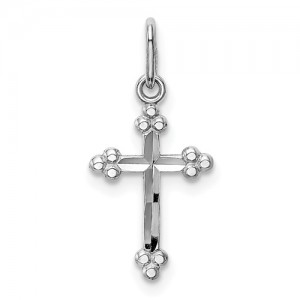 White 14 Karat Religious Charm Pendant Charm Type: Budded Cross