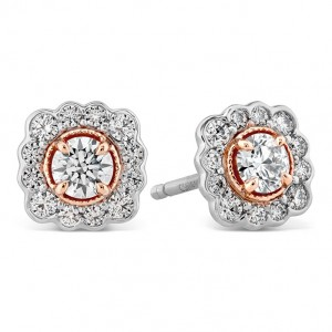 18 Karat Rose & Platinum Earrings Liliana Flower Stud With 0.55Tw Diamonds Platinum Posts & Backs