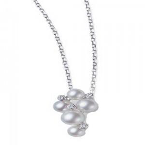 White 18 Kara Tcluster Pendant Style Name: 5 Akoya A+ 4.75Mm-6.25Mm 4=.05Ct Diamond 18