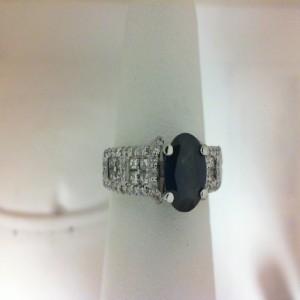 White 14 Karat Fashion Ring With 16=0.40Tw Princess Diamonds 62=0.29Tw Round Diamonds And 1.26 Twt Blue Sapphire