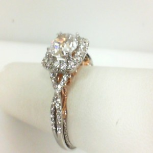 White/Rose 18 Karat Semi Mount Ring With 0.75Tw Round Diamonds  Name Insignia  Center Size 7.25mm