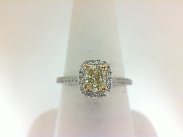 Forevermark: 18 Karat Yellow/White Gold  Ring With One 0.55Ct Forevermark Cushion Yellow Diamond   FM 8503576   And 82=0.29Tw Round (not Forevermark) Diamonds