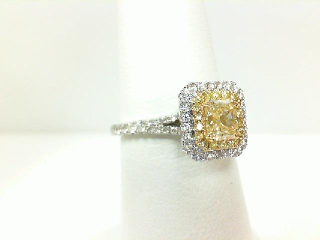 Forevermark: 18 Karat White/Yellow Gold Halo Ring With One 0.51ct Forevermark Radiant Yellow Diamond(FM 1337169), 60=0.36tw Round (not Forevermark) Diamonds And 18=0.10tw Round (not Forevermark) Yellow Diamonds