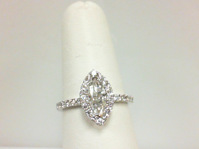 14 Karat White Gold Ring With One 0.50Ct Marquise Diamond SI-2/I And 34=0.52Tw Round Diamonds Serial #: 709946