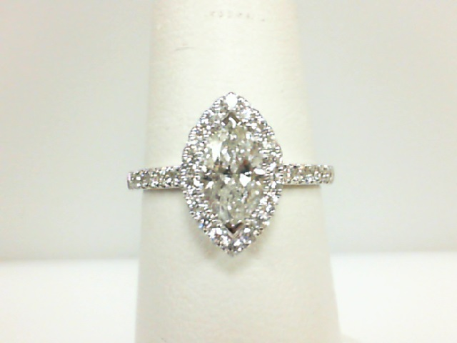 14 Karat White Gold Ring  With One 0.76Ct Marquise Diamond SI-2/H-I And 34=0.42Tw Round Diamonds