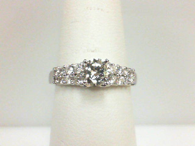 14 Karat White Gold Ring  With One 0.52ct Round Diamond SI-2/J-K And 20=0.47tw Round Diamonds