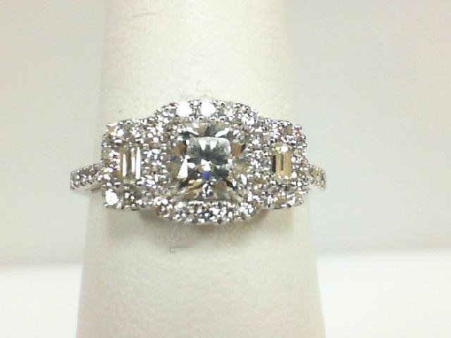 14 Karat White Gold  Ring with one 0.65ct Ideal Square F VS2 Diamond 2=0.12tw Baguette Diamonds 46=0.43tw Round Diamonds Size 6.5 Name: AGS