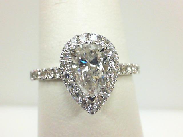 14 Karat White Gold Ring  With One 0.89Ct Pear Diamond SI-2/I-J And 33=0.42Tw Round Diamonds