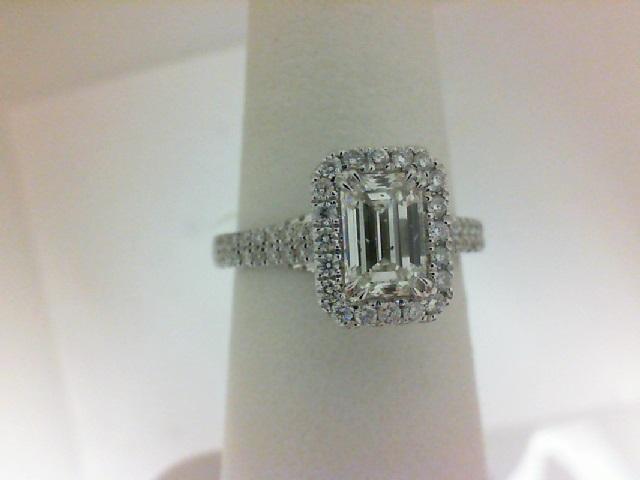 14 Karat White Gold Ring With One 0.97Ct Emerald H Si1 Diamond And 98=0.51Tw Round Diamonds