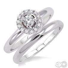 14 Karat White Gold  Ring Set With 14=0.30Tw Round H/I Si2-3 Diamonds