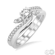 14 Karat White Gold  Ring Set  With 22=0.40Tw Round Diamonds
