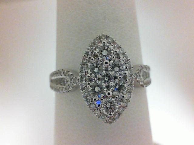 14 Karat White Gold Ring With 87=0.82Tw Round Diamonds