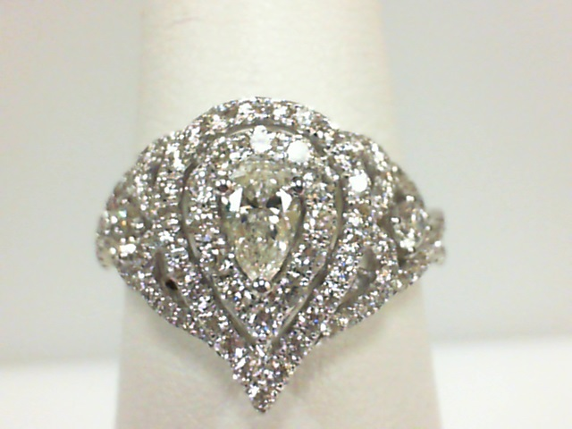 Forevermark: 18 Karat White Gold Ring With One 0.30Ct Forevermark Pear J Si2 Diamond And 109=0.95Tw Round Diamonds