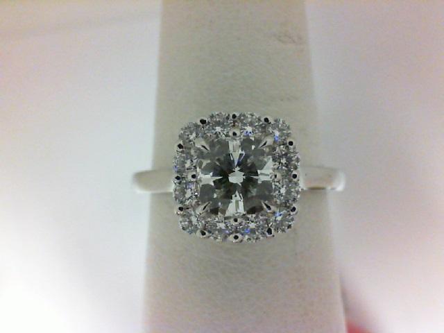 Forevermark: 18 Karat White Gold Ring With One 0.70Ct Forevermark Cushion E Vs1 Diamond And 12=0.33Tw H&A (Non Forevermark)Round Diamonds FM 3669791