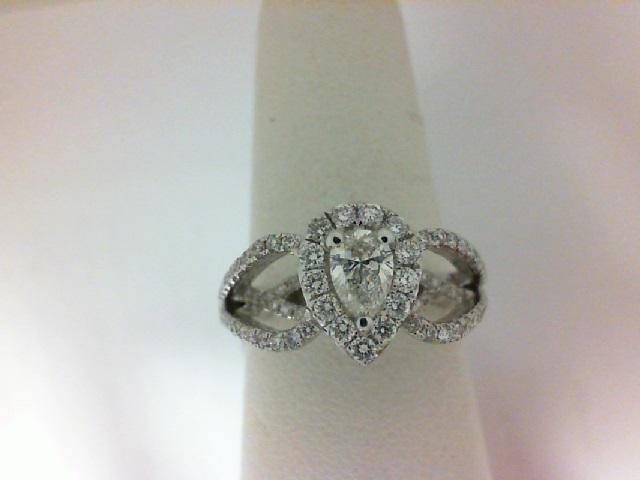 Forevermark: 18 Karat White Gold Ring With One 0.31Ct Forevermark Pear I Vs2 Diamond And 104=0.61Tw (Non Forevermark) Round Diamonds FM 2267032