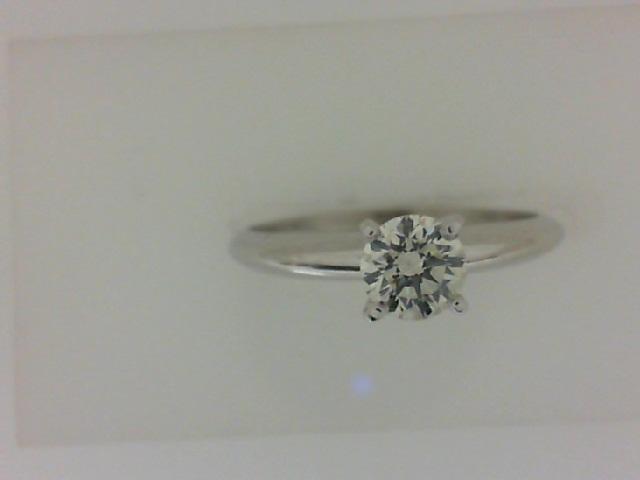 14 Karat White Gold Solitaire Ring With One 0.18 Ct Round Diamond