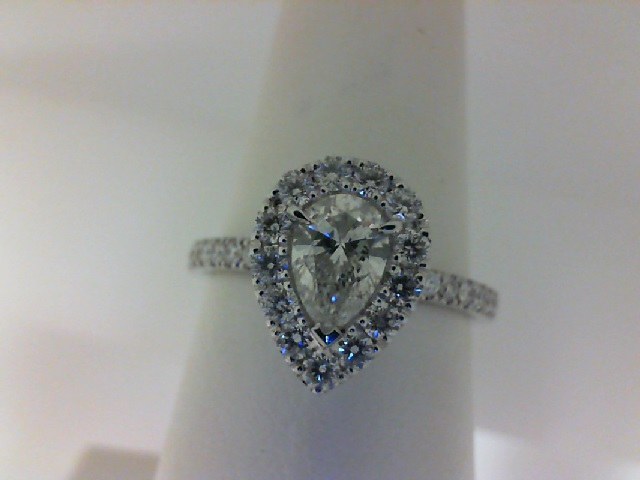 14 Karat White Gold Ring  With One 0.50Ct Pear J/K Si2 Diamond  And 31=0.49Tw Round Diamonds