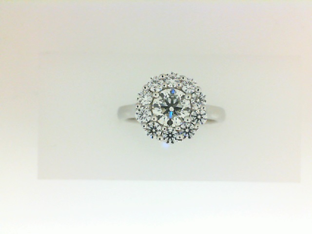 Forevermark: 18 Karat White Gold Halo Ring  With One 0.70Ct Forevermark Round I Si1 Diamond And 10=0.53Tw H&A Not Forevermark Round Diamonds FM 786623