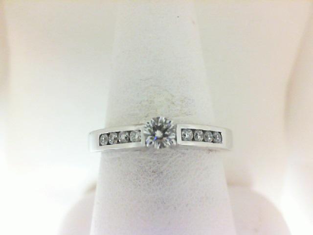 14 Karat White Gold Ring With 9=0.35Tw Round J/K Si3-I1 Diamonds