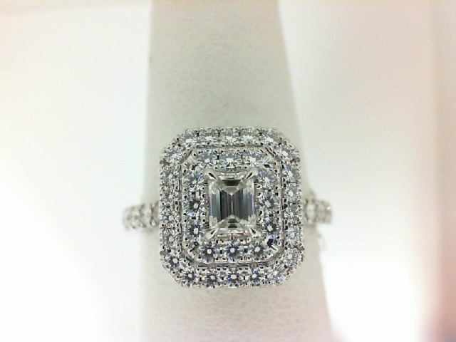 Forevermark: 18 Karat White Gold Ring With One 0.31Ct Forevermark Emerald Cut G Vvs2 Diamond And 49=0.63Tw Forevermark Petite Round Diamonds FM 8078701