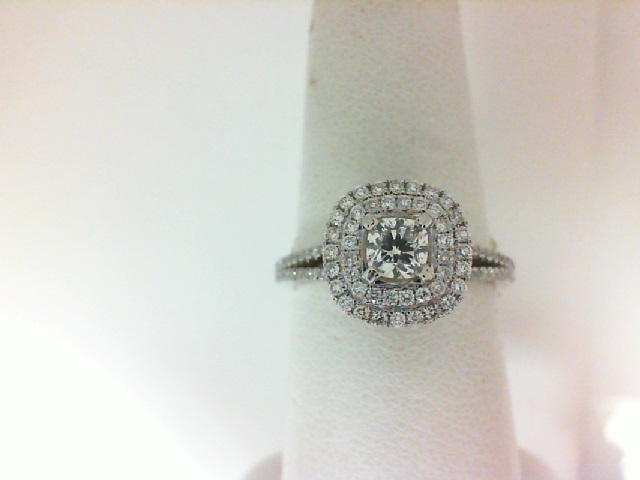 Forevermark: 18 Karat White Ring With One 0.35Ct Forevermark Ideal Cushion G Si2 Diamond And 106=0.40Tw Non Forevermark Round Diamonds FM 3292929
