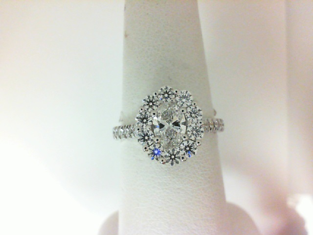 Forevermark: 18 Karat White Gold Ring With One 0.50Ct Forevermark  Oval F Vs1 Diamond And 30=0.94Tw H&A  Non Forevermark Round Diamonds FM 3262991
