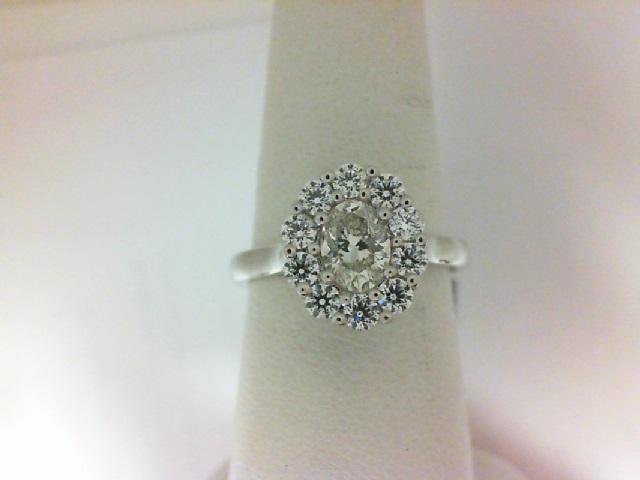 Forevermark: 18 Karat White Gold Ring With One 0.70Ct Forevermark Oval K Vs2 Diamond And 10=0.63Tw H&A Round Non Forevermark Diamonds FM 2973128