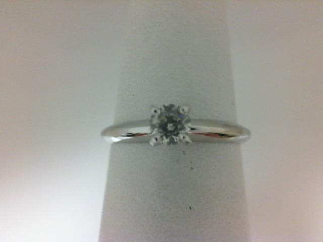 14 Karat White Gold Solitaire Ring With One 0.20Ct Round  Diamond