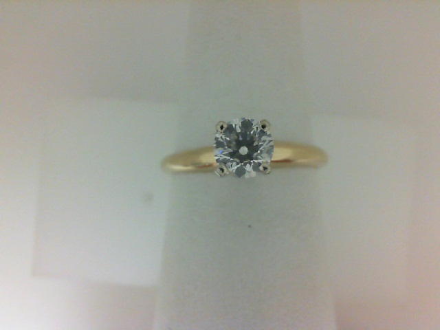 14 Karat Yellow Gold Solitaire Ring With One 0.28 Ct Round Si1-2 Diamond