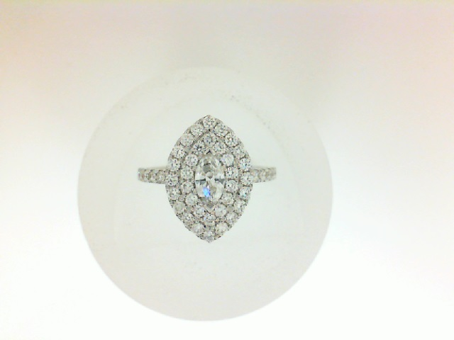 14 Karat White Gold Double Halo Ring  With One 0.30Ct Marquise F Si2 Diamond And 48=0.70Tw Round Diamonds