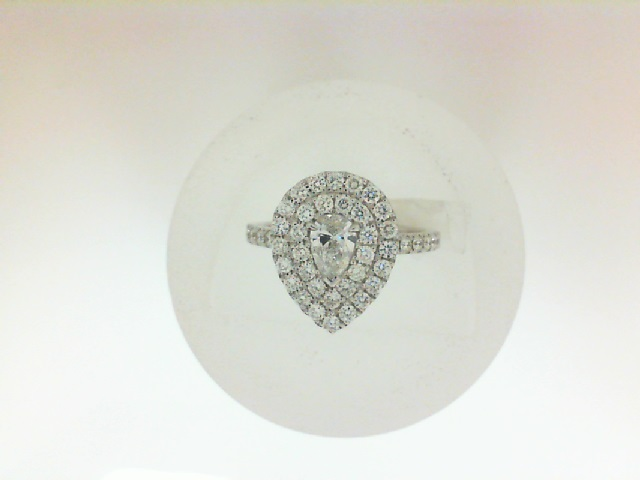 14 Karat White Gold Double Halo Ring With One 0.30Ct Pear F Si2 Diamond And 47=0.64Tw Round Diamonds