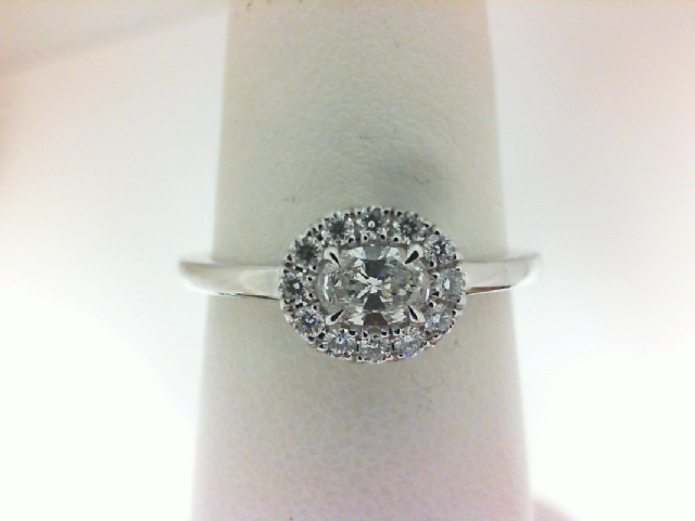 Forevermark: 18 Karat White Gold Tribute Ring With One 0.18Ct Forevermark Oval E Si1 Diamond And 12=0.12Tw Round Diamonds Fm 1800513