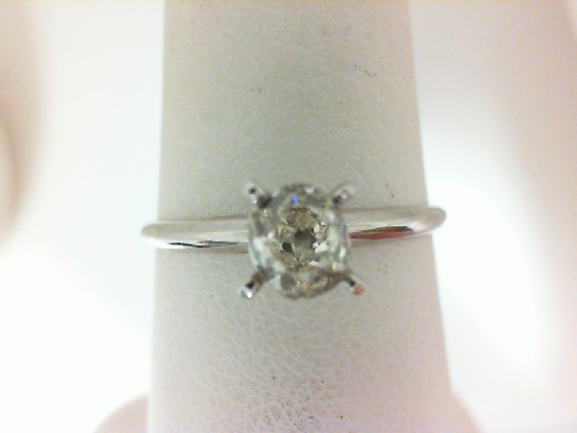 14 Karat White Gold Solitaire Ring With One 0.57Ct Old Mine Cut Diamond  J/K Si1