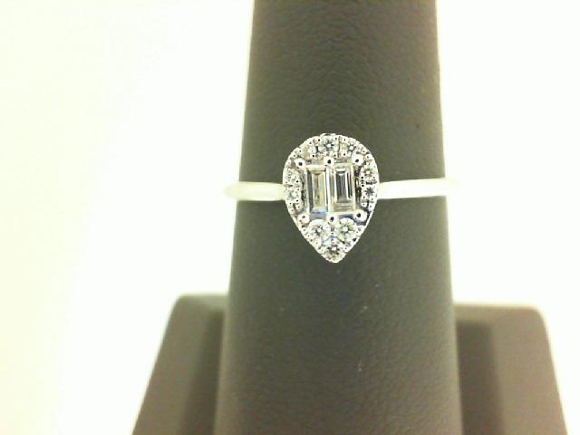 18 Karat White Gold  Ring  With 12=0.14Tw Various Shapes Diamonds