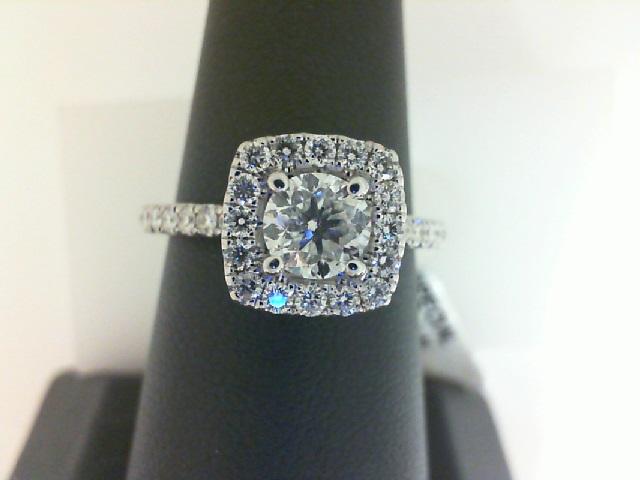 14 Karat White Gold Ring With One 0.71Ct Round H I1 Diamond And 32=0.51Tw Round Diamonds