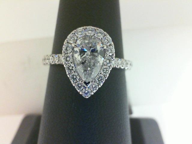 14 Karat White Gold Ring With One 0.73Ct Pear H I1 Diamond And 30=0.45Tw Round Diamonds