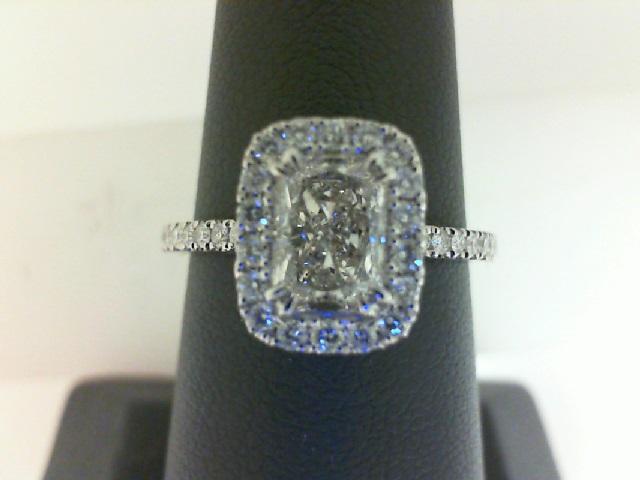 14 Karat White Gold Ring With One 1.01Ct Radiant J I1 Diamond 18=0.19Tw Round Diamonds 16=0.13Tw Round Diamonds