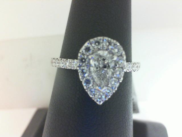 14 Karat White Gold Ring With One 0.46ct Pear H SI1 Diamond, 27=.47tw Round Diamonds