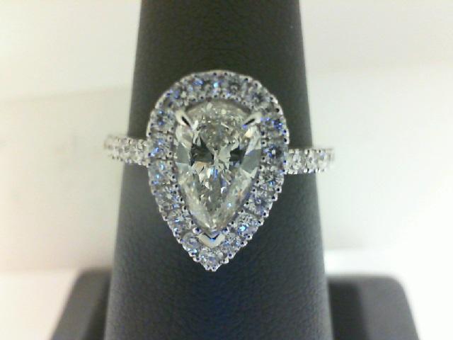 14 Karat White Gold Ring With One 0.92Ct Pear K Si1 Diamond And 31=0.47Tw Round Diamonds