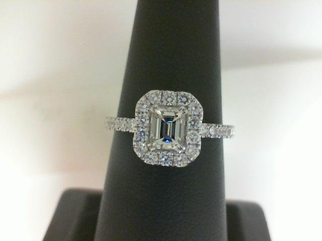 14 Karat White Gold Ring With One 0.53ct Emerald K Si1 Diamond And 28=0.45tw Round Diamonds