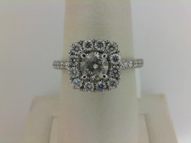 14 Karat White Gold Ring With One 0.46ct Round I SI2 Diamond And 28=0.55tw Round Diamonds