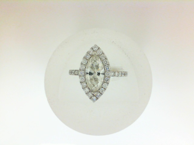14 Karat White Gold Ring With One 1.02Ct Marquise J I1 Diamond And 36=0.52Tw Round Diamonds