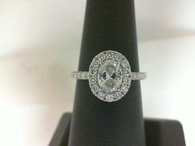 White 14 Karat Ring With One 0.70Ct Oval I/J Si2 Diamond And 28=0.45Tw Round Diamonds