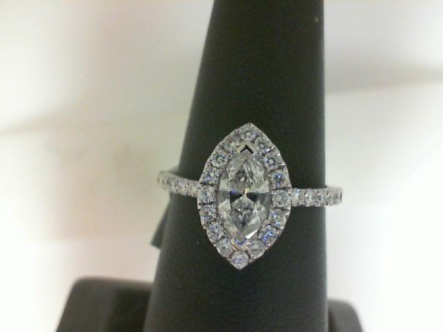14 Karat White Gold Ring With One 0.47Ct Marquise J/K Si2 Diamond And 32=0.43Tw Round Diamonds