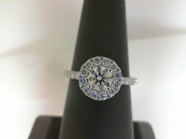 14 Karat White Gold Ring With One 0.54ct Round K/L I1 Diamond And 28=0.53tw Round Diamonds