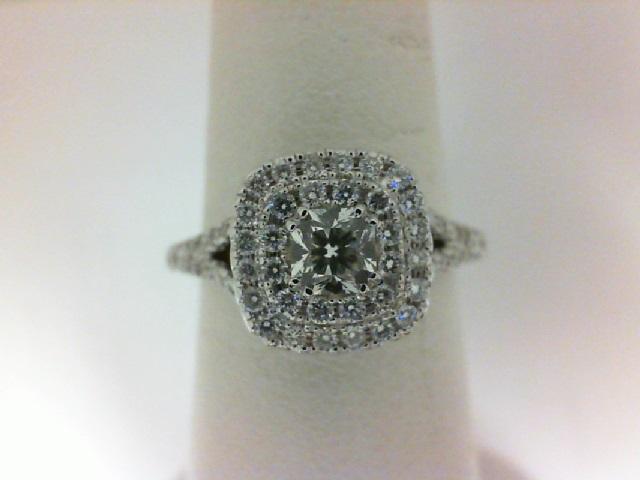 Forevermark: 18 Karat White Gold Ring With One 0.33Ct Forevermark Ideal Cushion Diamond And 70=0.60Tw Non Forevermark Round Diamonds FM 3970287