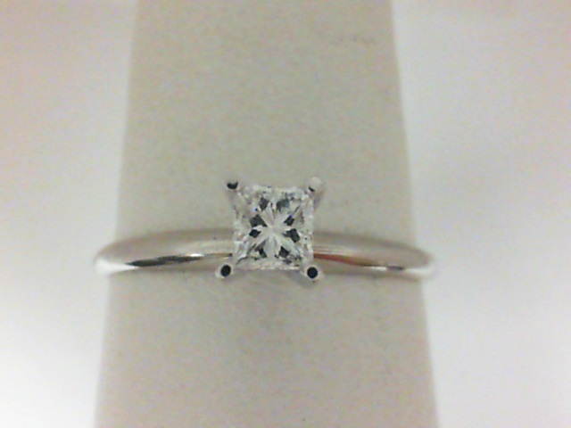 18 Karat White Gold Estate Solitaire Ring With 4 - 0.25Ct Tw Invisible Princess