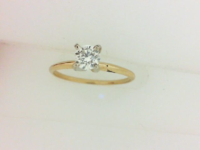 14 Karat Yellow Gold Solitaire Ring With One 0.15 Ct Round Diamond