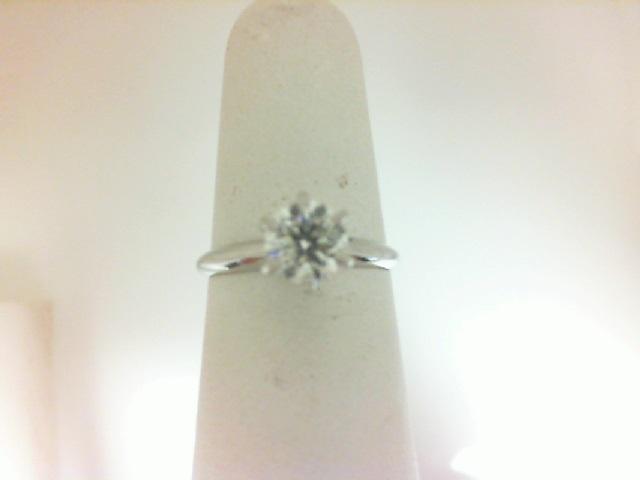 White 14 Karat Ring  With One 0.79Ct Round J/K Si2 Diamond